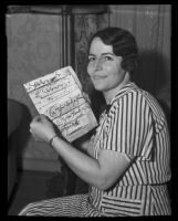 Marjorie Quigley, examiner of documents, Los Angeles, 1935