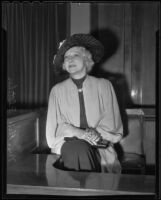 Witness Elsie Fletcher testifies in Busby Berkeley auto accident, Los Angeles, 1936