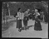 Alma Dube, H. J. Brubaker, and Minnie Blandin at the annual Old Folks' picnic, Livermore, 1935