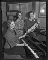 Effie G. Louis, Leona B. Wooley, and Rose Victoria Johnson gather around a piano, Los Angeles, 1935