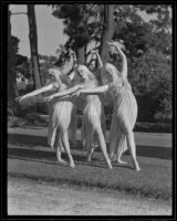 """Eunice La Haise, Donna Jeanne Lewis, and Amelia Beck dancing a reenactment of """"Romance of Centinela Springs"""", Los Angeles, 1935"""