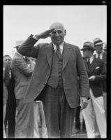Governor Frank F. Merriam returns salute, San Diego, 1935