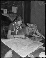 Dorothy Skaer with her dog, Duke, reading a map, Los Angeles, 1935