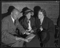 Rheba Crawford, Ray Splivalo, and Harriet Jordan review papers for trial, Los Angeles, 1935