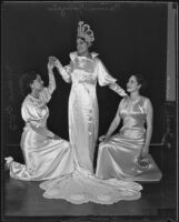 Carmen Gonzales, Sarah Rivera, and Maria Cruz dressed in gowns for EL Festejos Patrios Mexicanas, Los Angeles, 1935