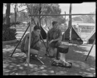 Bob Miller and Joe Hester, Boy Scouts at the Los Angeles County Fair, Pomona, 1935