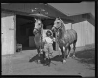 Della Ryan and horses Hilda and Queen at the Los Angeles County Fair, Pomona, 1935