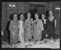 Katherine Freer, Lilia Bishop, Oretta Davis, Mable Clapsadle, Mertie Wilmer, and Virginia Reid honor Misses Davis and Clapsadle, Los Angeles, 1935