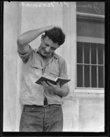 James Paul Norman studying at Riverside County Jail, Riverside, 1935