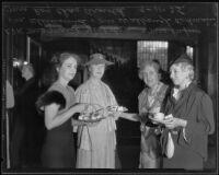 Marie Nicholson, Elisabeth Von Kleinsmid, Arabella Rodman, and Mrs. Roy Charles Arnold enjoy tea, Los Angeles, 1935