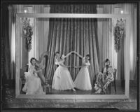 "Daisy Carr, Shirley Bernice Smith, Fanchon Brown, and Katherine Coffin are living models in a piece called ""Colonial Dames"", Los Angeles, 1935"