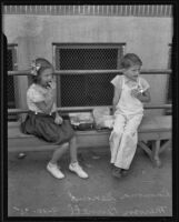 Ramona Genoud and Mervin Pennell on the first day back to school, Montebello, 1935
