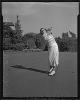 Ruth Tustin golfing, California, 1935