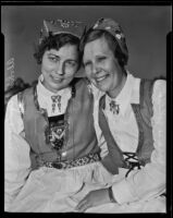 Marie Johnson and Alvhild Anderson posing together in costume, circa 1935