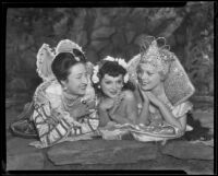 Elizabeth Sowersby, Queen Zorine, and Sonia Ruggs posing together, San Diego, California, 1935