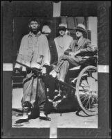 C.C. Julian, fugitive, riding in rickshaw, China, 1933-1934