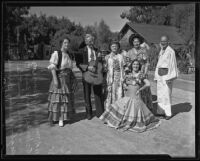 Mr. and Mrs. Osborn, Mr. and Mrs. Bagby, Mrs. Ralph Tuttle, and Bernice Young the day before the Mexico Independence celebration, Los Angeles, 1935