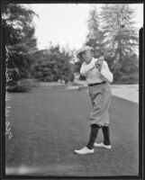 George W. Dickinson golfing at the Los Angeles Country Club, Los Angeles, 1935