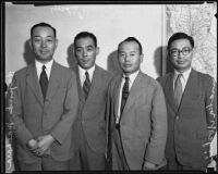 Japanese officials Hajime Maehara, Yoshio Kuroda, Jisuki Ohahashi, and Annaka Yoshii on tour, Los Angeles, 1935