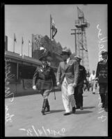 Major-General Paul Malone and expo president Frank Belcher, strolling, [San Diego ?], 1935