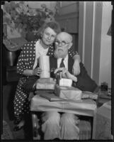 Ripley Nicholas Baylies celebrating his 90th birthday with daughter Mrs. Harriet Tilden at the Hollywood Roosevelt Hotel, 1935