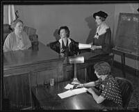 Superior Court judge Georgia Bullock, Mrs. Mary E. Moffett, attorney Florence Anderson and court reporter Mrs. Winifred Gurney at proceedings, Los Angeles, 1935