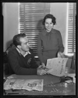 Tom Lawless and Martha Williams at Daily Trojan office at U.S.C., Los Angeles, 1935