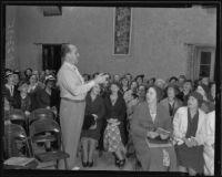 J. Arthur Lewis leading Los Angeles Civic Chorus rehearsal, Los Angeles, 1935