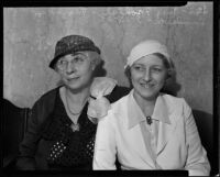 Mrs. H.D. Frohlich and Florence Suddarth are involved in paternity suit with Royal Leonard, Los Angeles, 1935