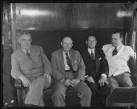 Senator Pat Harrison, George Allen, Holly Stover, and Matthew S. Sloan on Senator Harrison's rail tour, Los Angeles, 1935