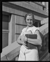 Carlene J. Barnaby comes to California to teach, Pasadena, 1935