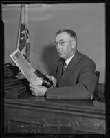 James Clark Sellers testifies in the case asserting that Hazel Glab forged Albert Cheney's will, Los Angeles, 1935