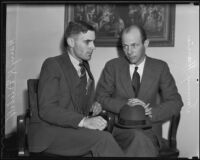 Harry K. Diebold and Tommy Harris witnesses at the Hazel Glab murder trial, Los Angeles, 1936