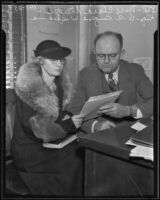 Clara Steeger, sentenced for forgery, and Attorney Eugene Williams, Los Angeles, 1935