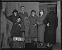 Convicted murderers Hazel Glab, Berbie Brockman, and Mabel Willys escorted by Deputy Sheriffs Verne Fleming and Adah Van Oeveran, Los Angeles, 1936