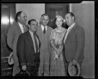 Harold W. Nash, Sydney Williams, Jonathan Perkins, Adele McNally, and Dan McNally in court, Los Angeles, 1935