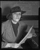 Baroness Carla Suzanne Jenssen involved in courtroom drama, Los Angeles, 1935