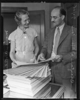 Marion A. Olsen and sales tax chief Clayton L. Howland, Los Angeles, 1935