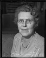 Jean Begg, National General Secretary of the Y.W.C.A in India, Burma, and Ceylon, at a YWCA conference, Los Angeles, 1935