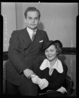 Nancy Drexel accompanies her husband Thomas Ince Jr. to court, Los Angeles, 1935