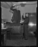 Tex Madsen is sworn in by J. A. Clapp, Los Angeles County, 1935