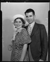 Gladys Jacobian and John Kolsoozian smile about their happy engagement, Los Angeles, 1935