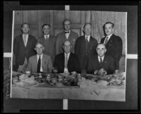 Henry Johnson, Paul McCormick, Carl Weygandt, William Waste, George Nilsson, John White Preston, William H. Langdon, and Ira F. Thompson attend a fraternity luncheon, Los Angeles County, 1935