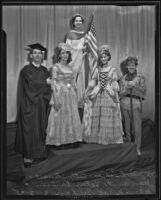 Joseph Tomes, Betty Stewart, Jean Burt, Helen Carson, and Patrick McGeehan dressed in costume to celebrate Constitution Day, Los Angeles, 1935