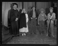 Joseph Tomes, Annabelle Arys, William Hayword, Dick Turner, and Patrick McGeehan dressed to celebrate Constitution Day, Los Angeles, 1935