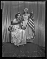 Jean Burt and Eleanor Burnham show off an American flag on Constitution Day, Los Angeles, 1935