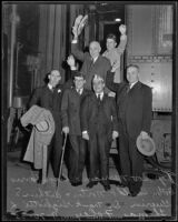Governor Frank F. Merriam and his party leave for American Legion Convention, Los Angeles, 1935