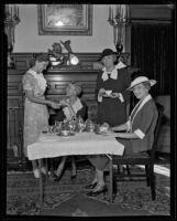 Evadne and Helen Meyler, Katherine Gibbon, and Alice Burr enjoy tea, Los Angeles, 1935