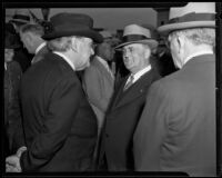 Isidore B. Dockweiler and Mayor Frank Shaw waiting for President Roosevelt's train at Central Station, Los Angeles, 1935