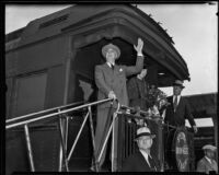 President Franklin D. Roosevelt  and Eleanor Roosevelt greet a crowd from the back of the presidential train at Central Station, Los Angeles, 1935